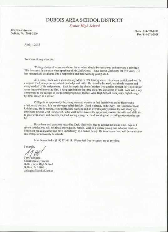 letter of recommendation for football coach