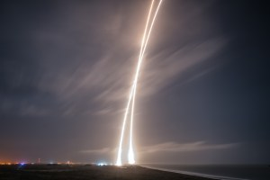 There and back again: long exposure of launch and re-entry trajectories.