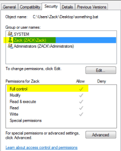 default permissions in user folder
