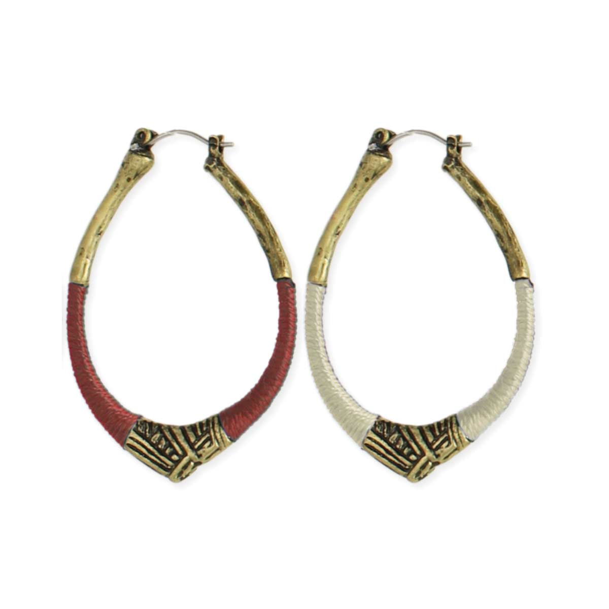 Zad Wholesale Jewelry Tribal Threads Wrapped Gold Hoop Earrings