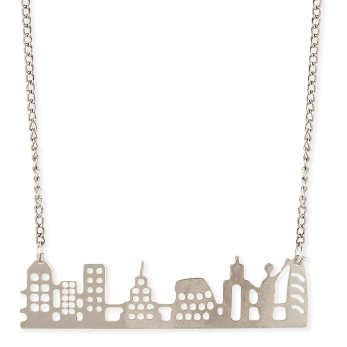 Wholesale Jewelry Displays New York City Silver Cutout New York Skyline Necklace