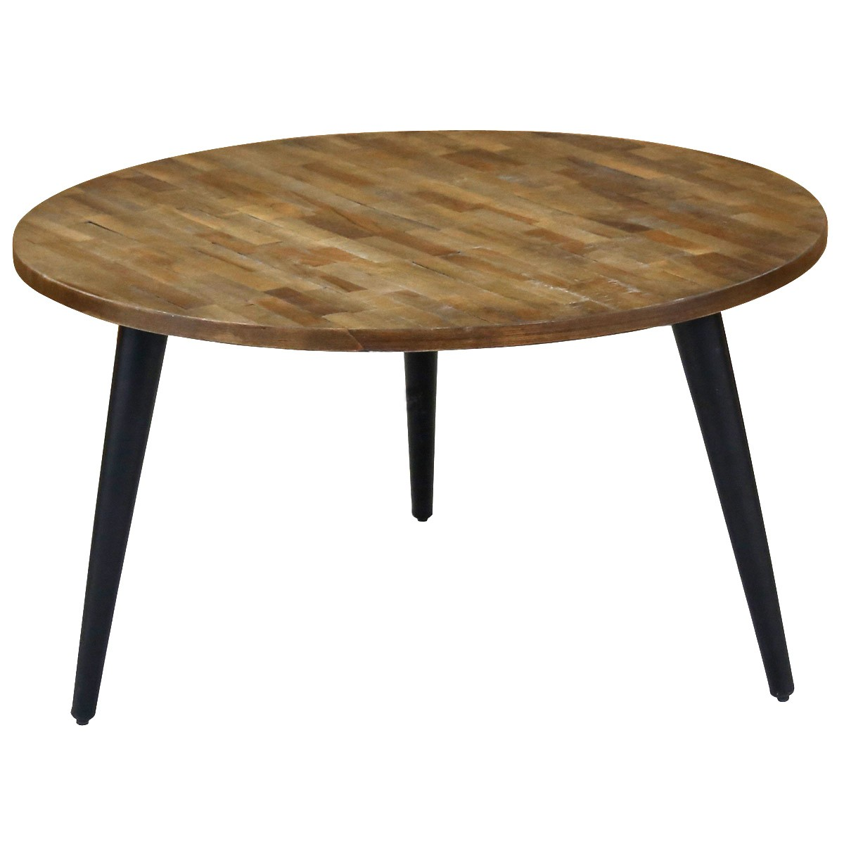 Woody Fashion Meubles Table Basse Ronde Teck Piétement Métal Ø80 Cm Style