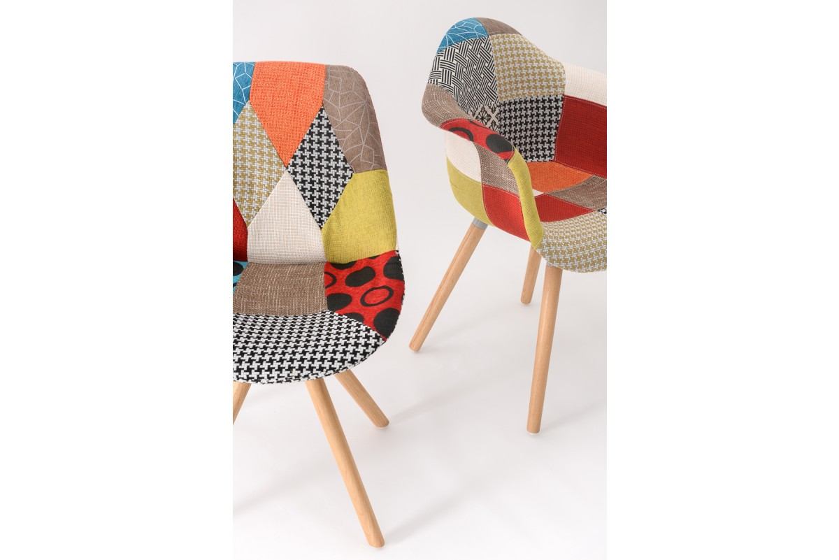 Chaise Multicolore Chaise Fauteuil Patchwork