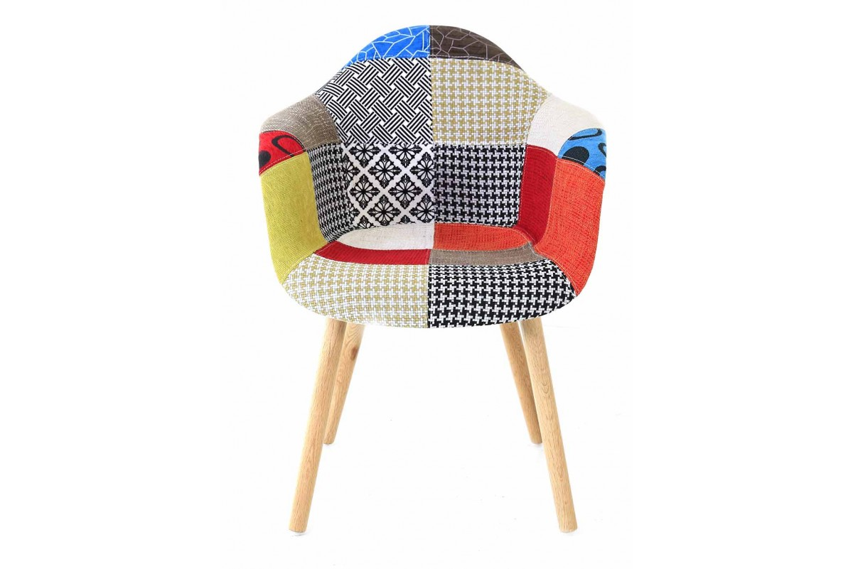 Fauteuils Scandinaves Patchwork Fauteuil Scandinave Multicolore Patchwork Lot De 2