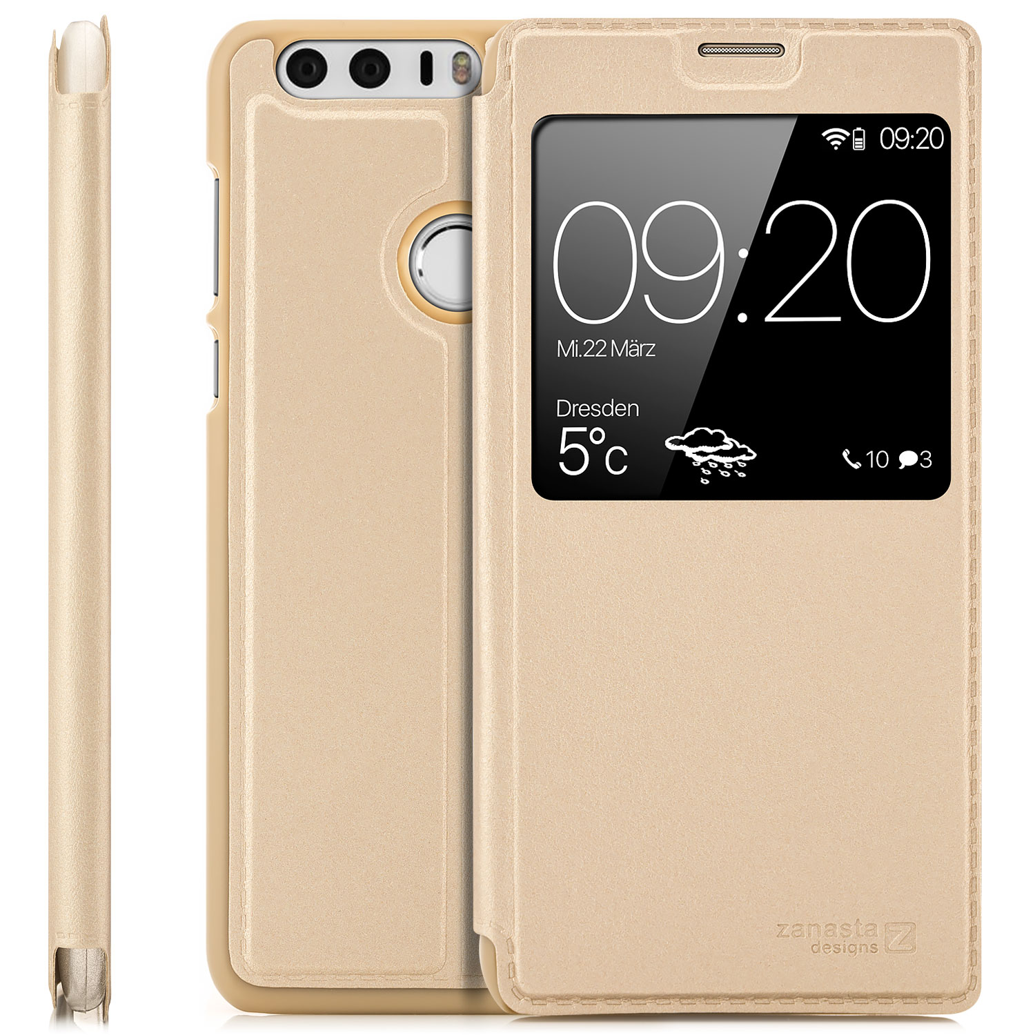 Zanasta Kunstleder View Case Für Huawei Honor 8 Gold