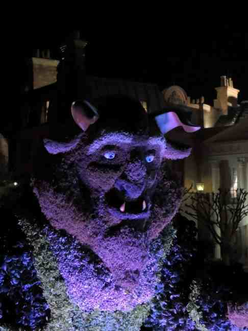 Beast topiary at night