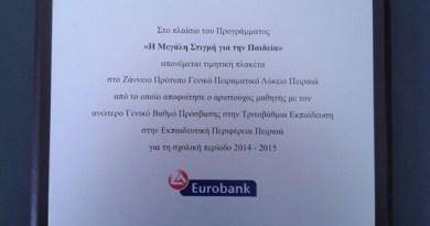 ΠΡΩΤΟΙ ΣΤΟΝ ΠΕΙΡΑΙΑ - ΒΡΑΒΕΥΣΗ ΑΠΟ ΤΗΝ EUROBANK