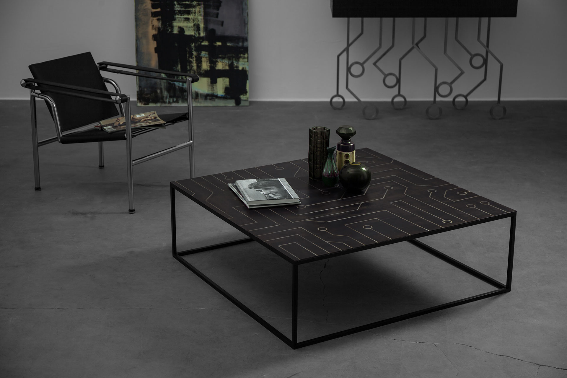 Low Black Table Brutalist Design Low Coffee Table With Steel Inlaid Top