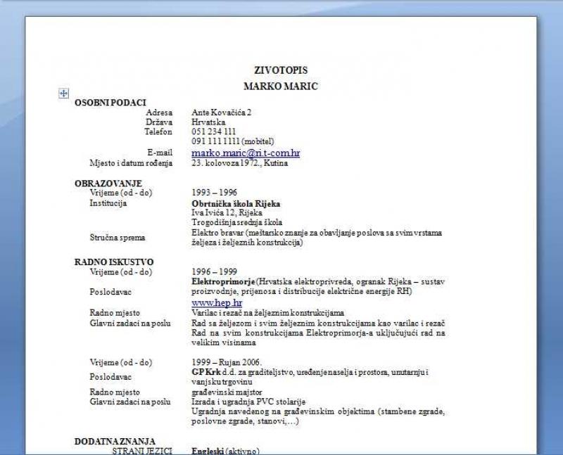 Forma za cv na srpskom job resignation letter free sample forma za cv na srpskom yelopaper Image collections