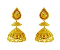 22K Gold Tricolor Jhumka - AjEr61874 - 22K Gold earrings ...