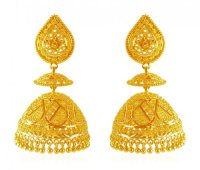 22 Karat Gold Jhumka Earrings - AjEr61876 - 22K Gold ...