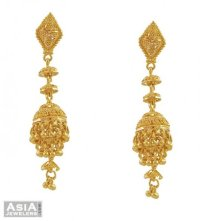 22K Yellow Gold Jhumka Earrings - AjEr53509 - 22K gold ...