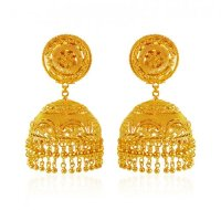 22K Gold Jhumka - AjEr62767 - 22K Gold Indian design ...