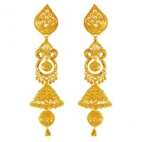 22K Gold Long Jhumka Earrings - AjEr62769 - 22 Karat gold ...