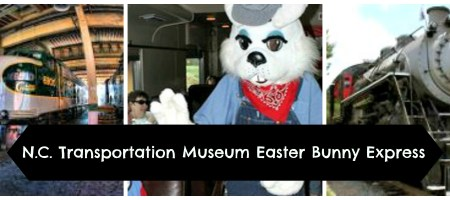 Come ride the Easter Bunny Express at the N.C. Transportation Museum on April 12, 13, 18, or 19.