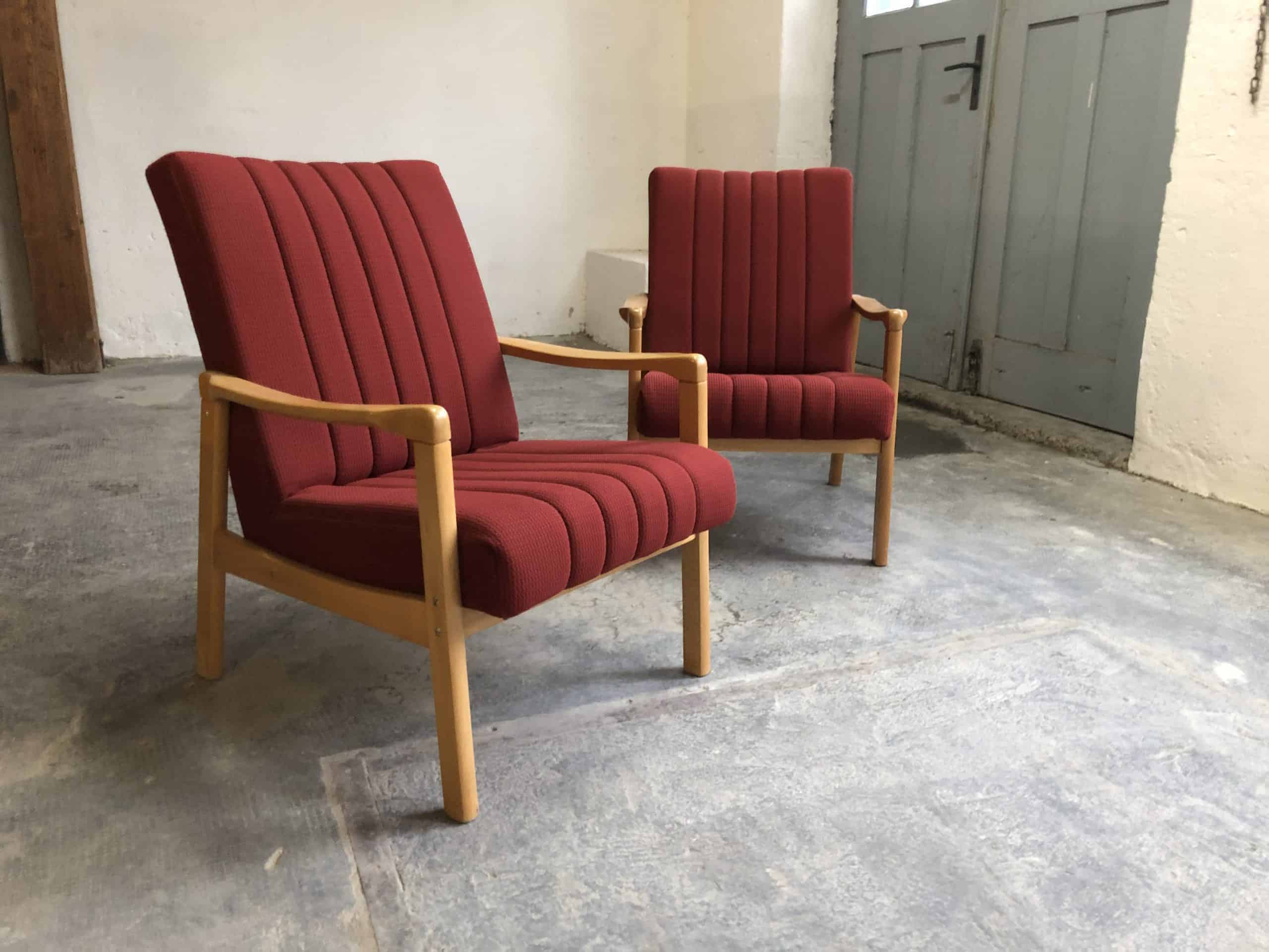 Czech Mid Century Armchair With Red Fabric Cover Zeitflair