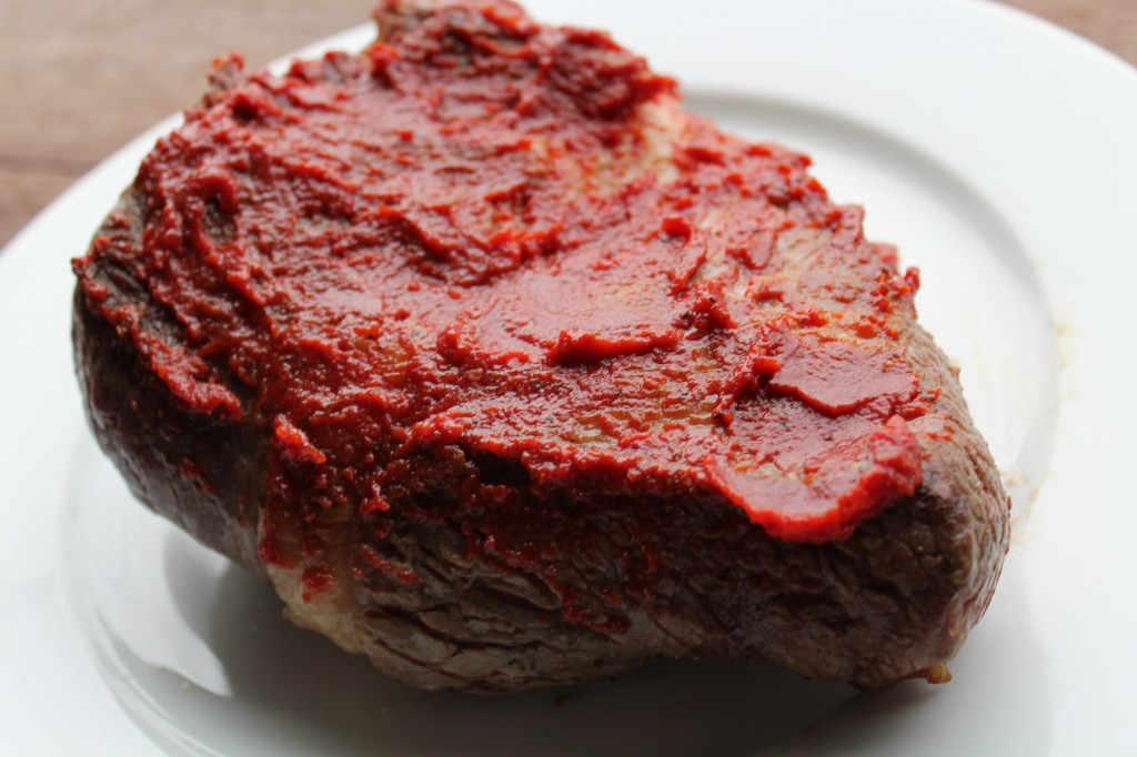 ...then brushed with tomato paste