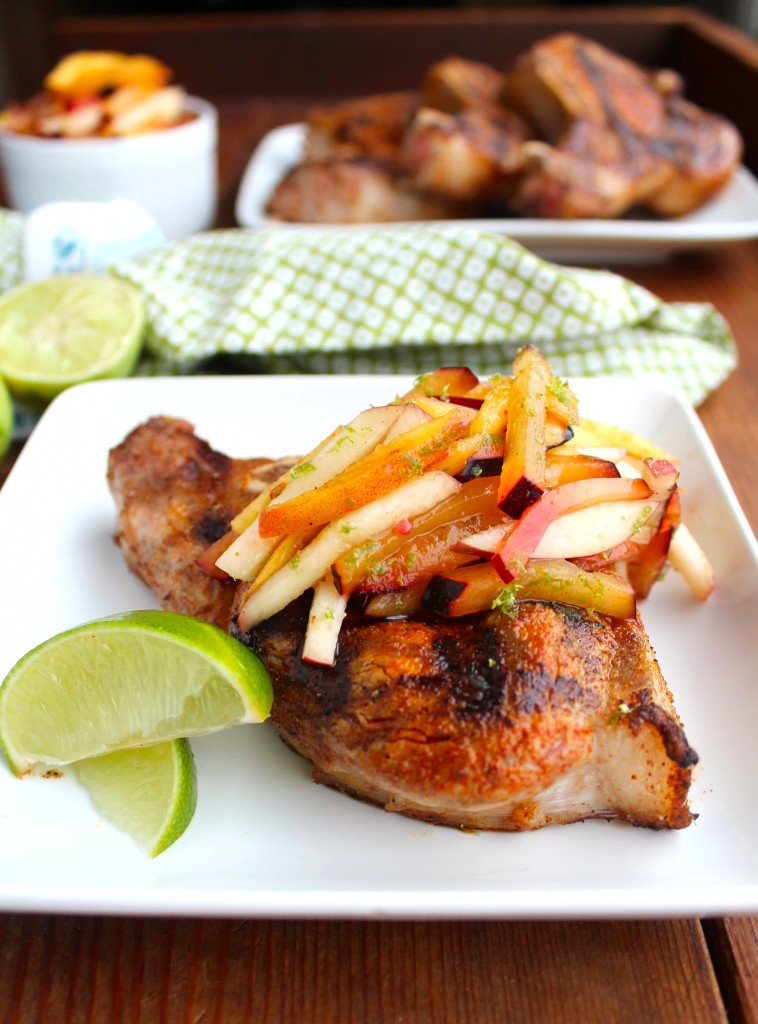 pork chops with stone fruit slaw