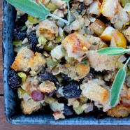 gluten-free sourdough stuffing (dressing) with cherries, pears & hazelnuts