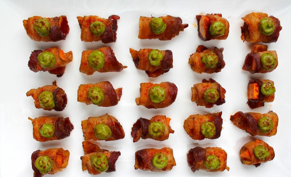 bacon wrapped sweet potato bites with avocado mousse