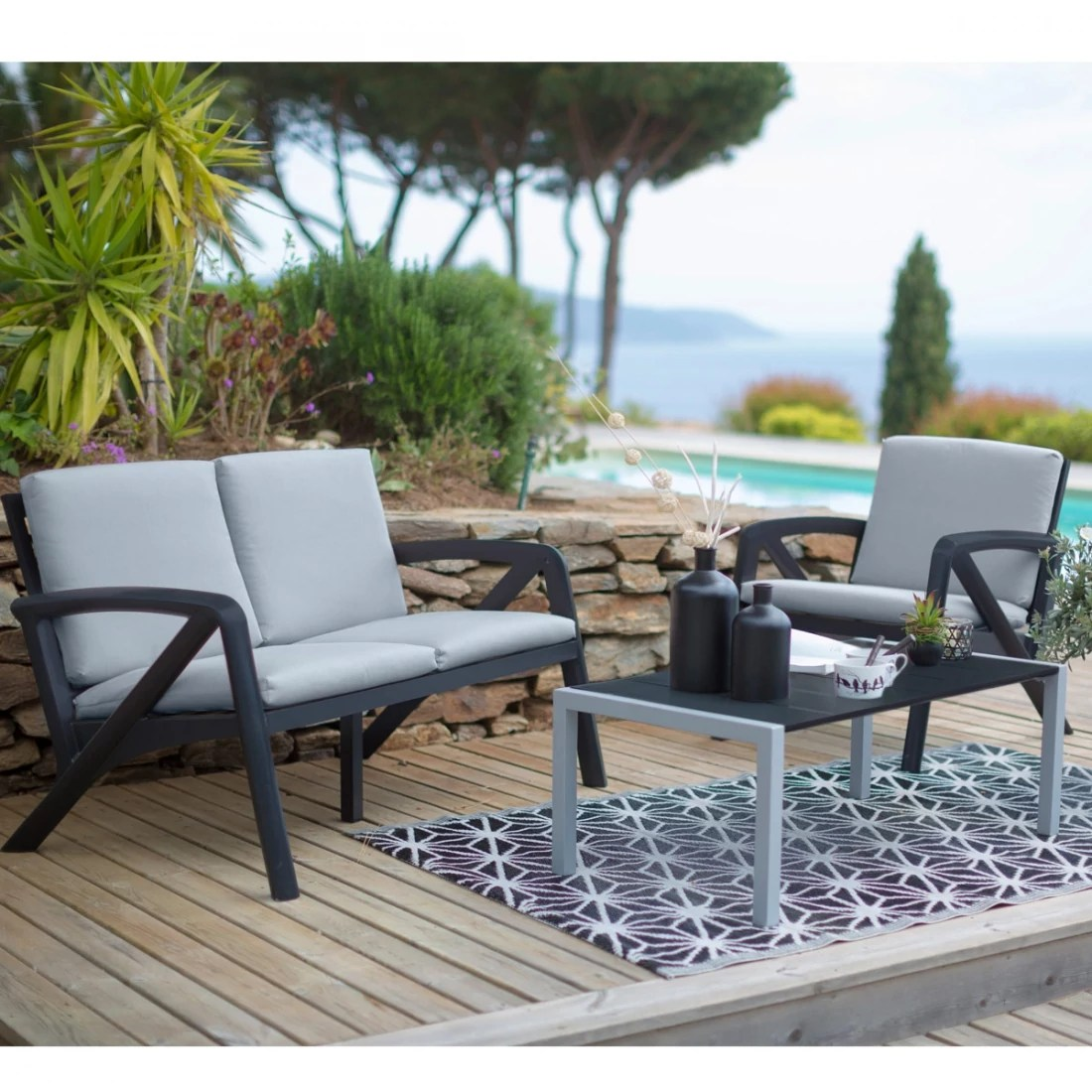 Salon De Jardin Pvc Design Salon De Jardin Lounge Sunday Barcelone Design Grosfillex