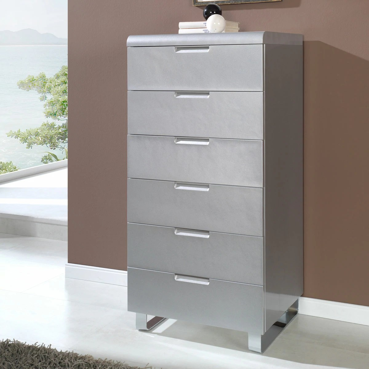 Chiffonnier Soldes Chiffonier Design 118x60 Collection Contempo Blanc 6 Tiroirs