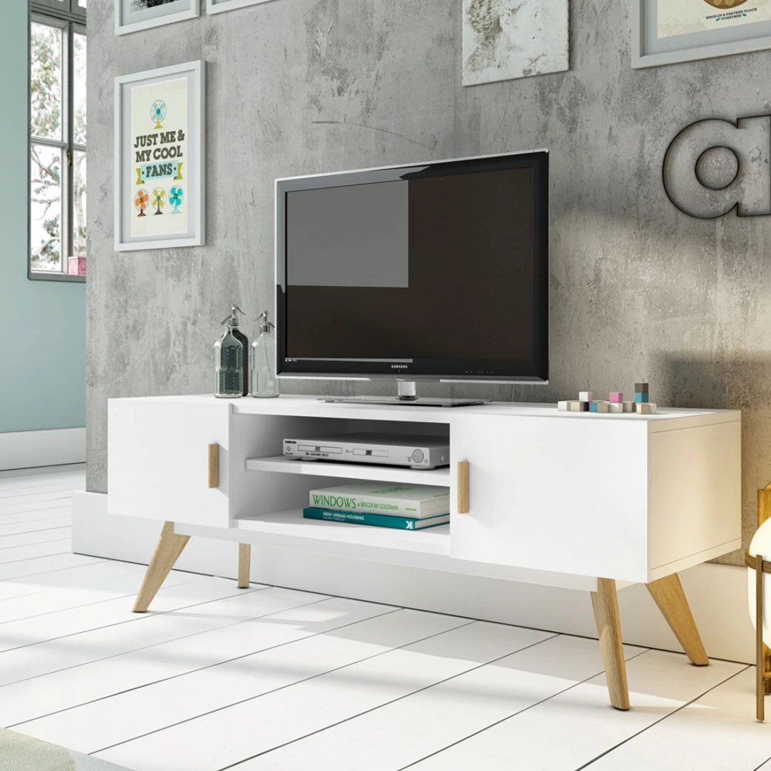 Meuble Tv Pied Compas Meuble Tv Design Collection Compas 120x40 2portes Par Zendart Sélection