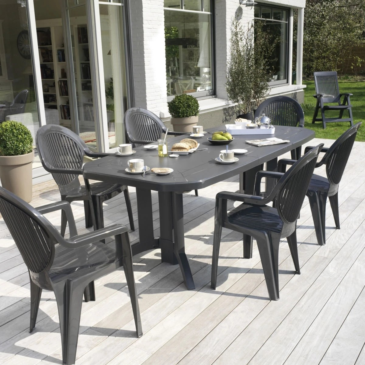 Salon De Jardin Vega Table De Jardin Ovale Design Grosfillex Vega 220x100x72