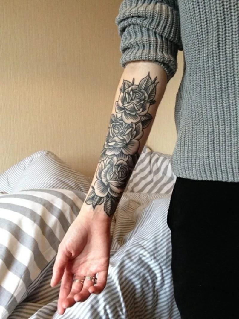 Blumen Tattoo Arm Schwarz Weiss Hylenmaddawardscom