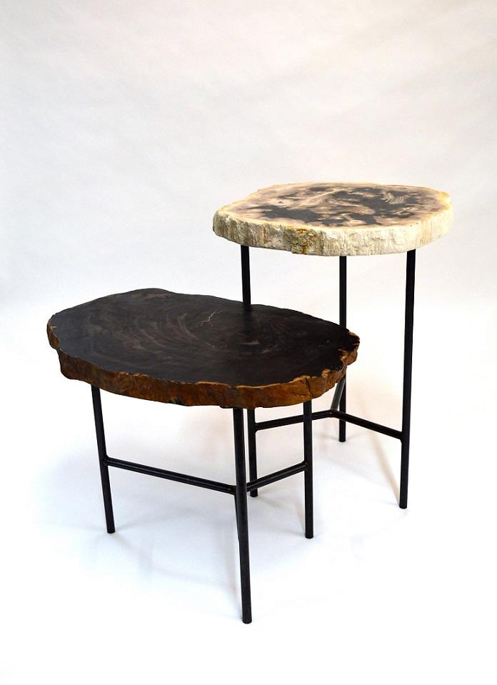Petrified wood side table zenporium