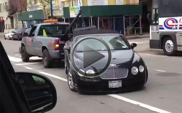 Car Tow Bentley Escapes Sandy, Gets Trashed By Tow Truck