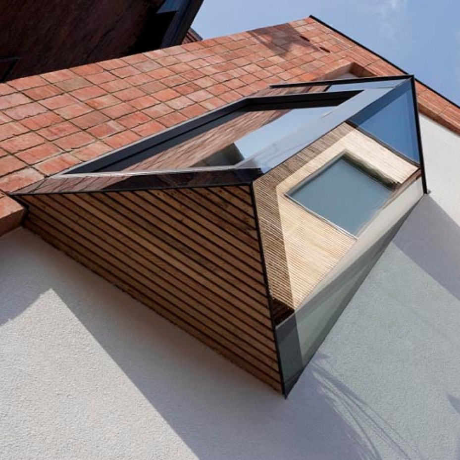 Oriel window of zero carbon house Birmingham seen from an angle