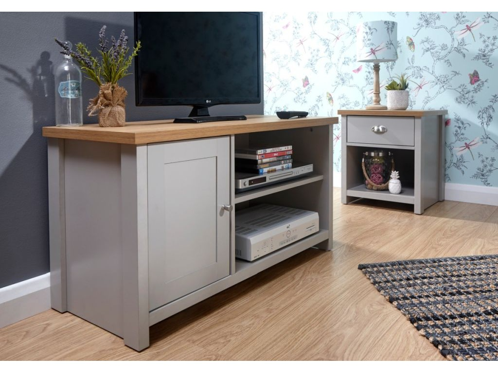 Tv Sideboard Modern Modern Lancaster Style 1 Door 2 Shelves Small Grey Tv Cabinet