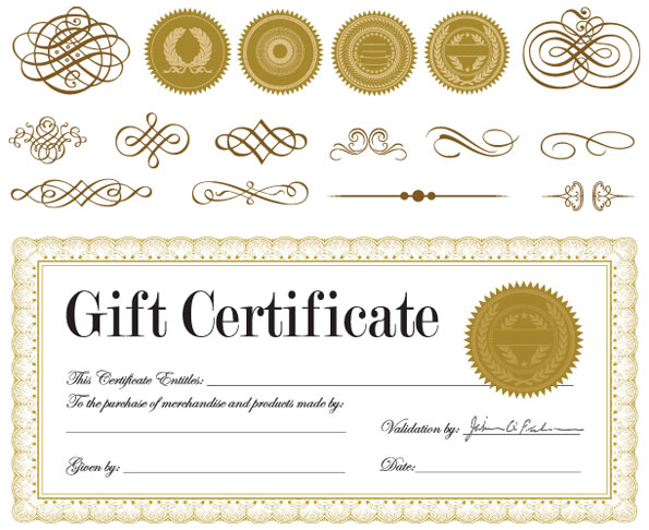 Gift certificate and a badge Vector Download Free Vectors graphic
