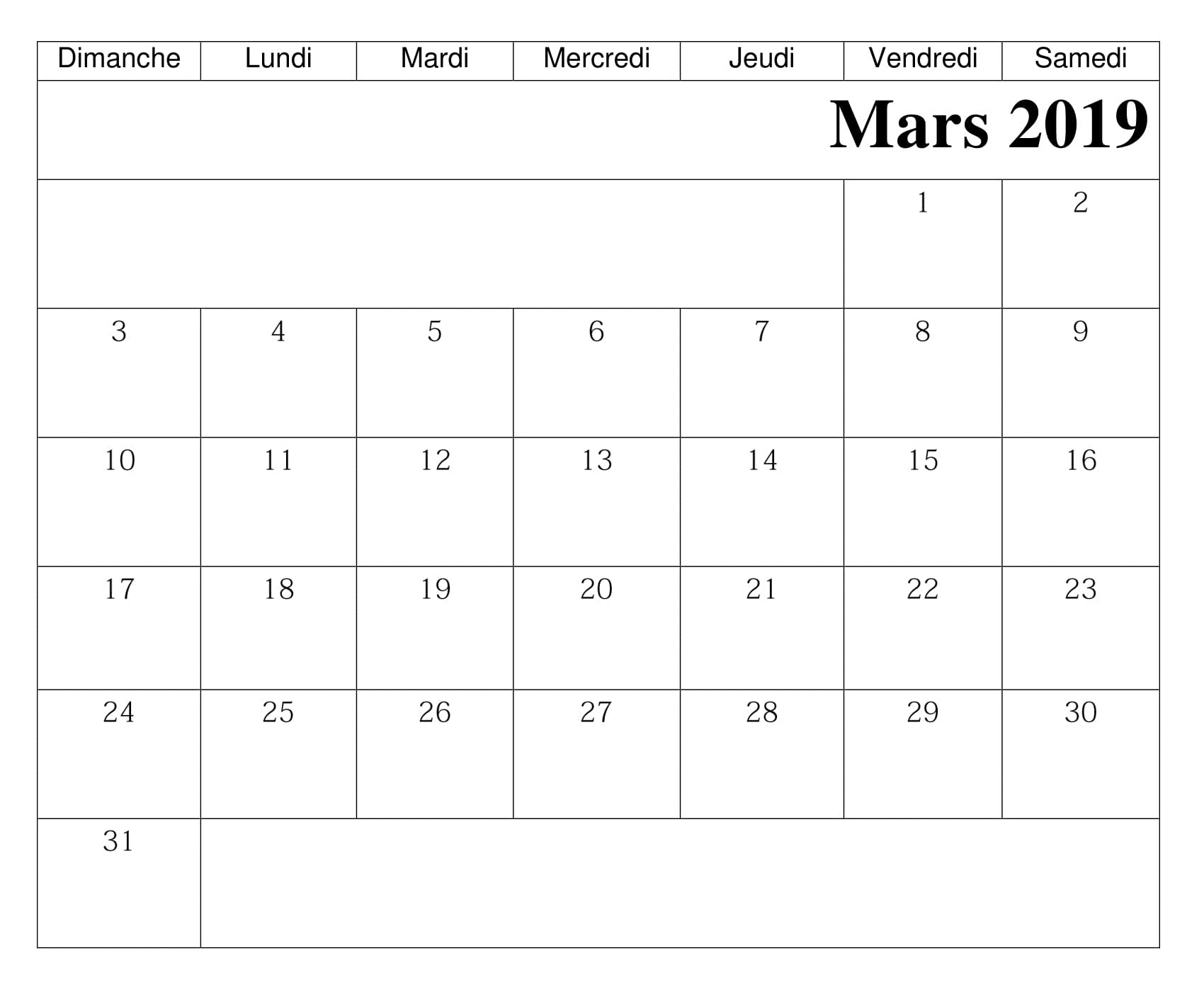 Free Calendrier 2019 Mars Calendrier Modèle Download Free Printable Calendar