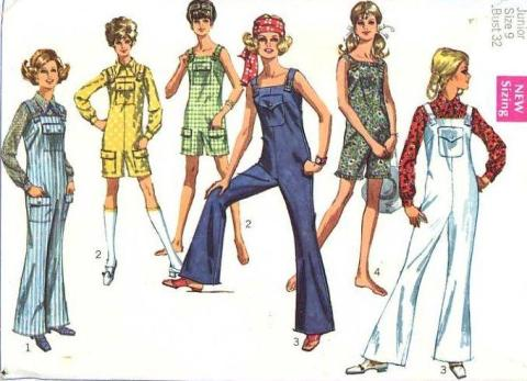 Vintage 1960s Simplicity 8178 Sewing Pattern Bell Bottom Bib Overall  Sewing Pattern Overalls
