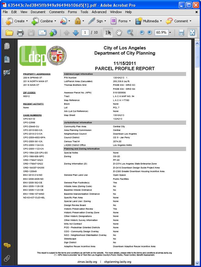 Create Parcel Profile Report