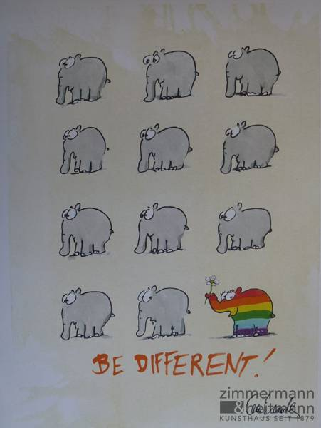 Gemälde Online Kaufen Otto Waalkes | Be Different! – Regenbogen