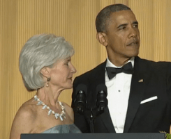 Biggest joke of all at #WHCD: Kathleen Sebelius makes cameo