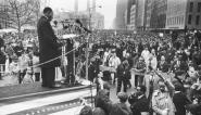 Dr. Martin Luther King Jr. speaks to a crowd of an estimated 400,000 people at the United Nations plaza after an anti-Vietnam War march, New York, New York, April 15, 1967. Credit: Fred W. McDarrah/Getty Images