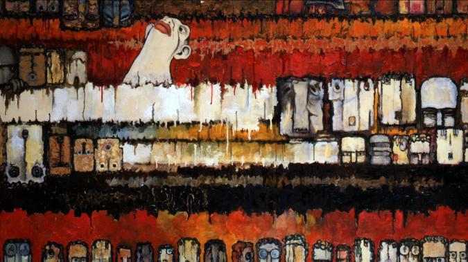Ishii Shigeo. Decoy (1961). Oil on canvas. 130.8 X 162.2 cm. Nagoya Municipal Museum