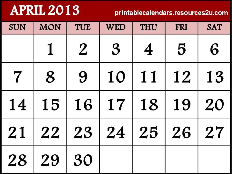 R5-Free-printable-2013-April-Calendar \u2013 ZION SANGAM