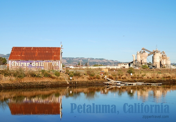 Old Ghiradelli Cocoa building and industrial site on the Petaluma River