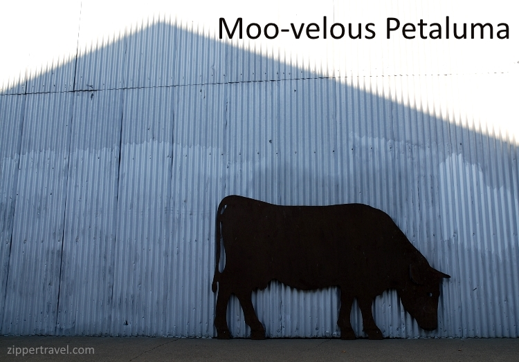 Cow silhouette in the side of a building in Petaluma California