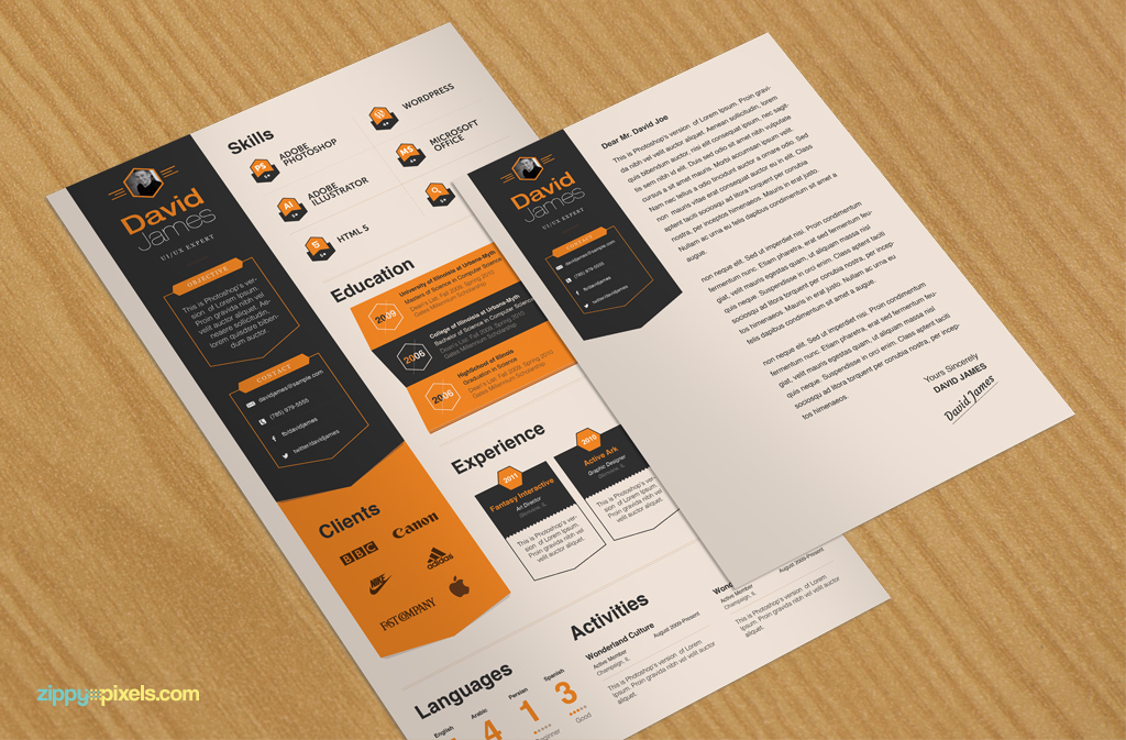 Download Free PSD Elegent Resume \ Cover Letter Template Buy MS - resume design