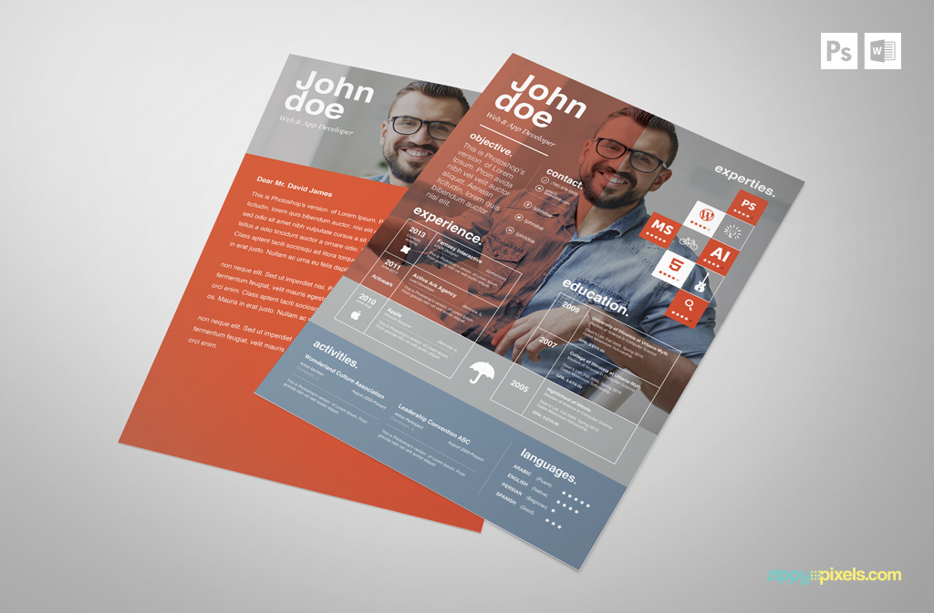 Free Creative PSD Resume Template Premium MS Word Resume  Cover - free cover letter template for resume in word