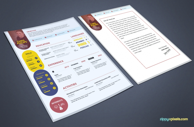 Free PSD Resume  Cover Letter Template ZippyPixels