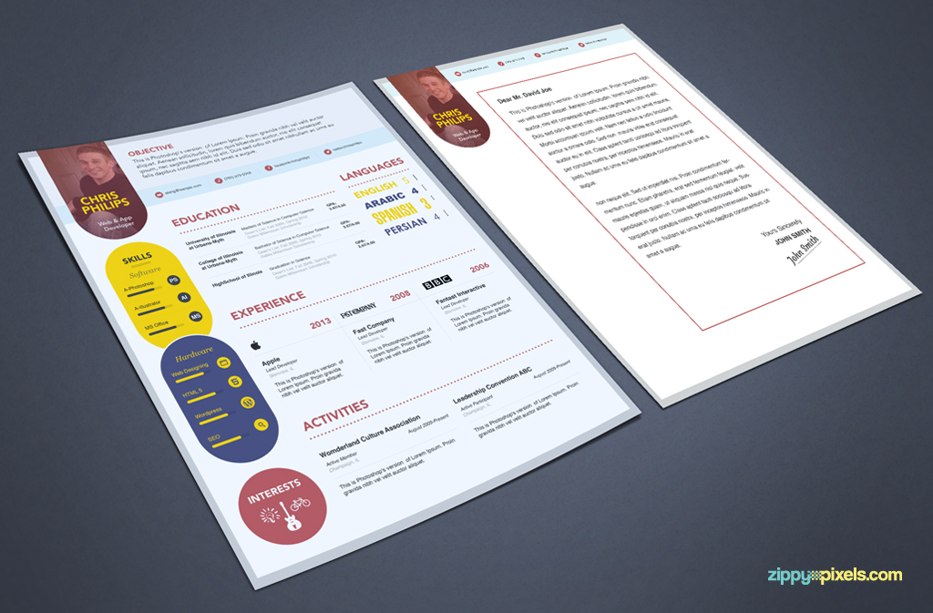template cv psd book
