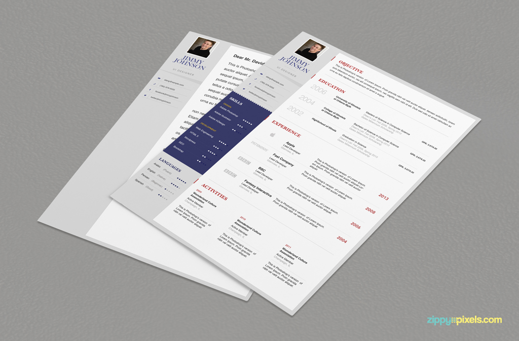 sample of resume professional business resume cover letter psd
