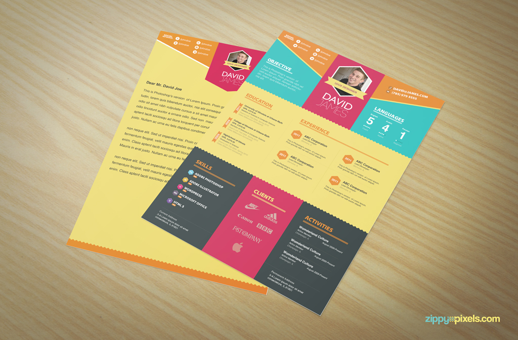 Resume \ Cover Letter Template Set Simple \ Colorful Design - graphic design resume ideas